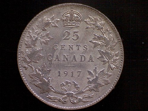 "1917 CANADA TWENTY-FIVE CENTS  KING GEORGE V  ""SILVER"""