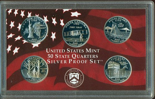 2001-S Silver Quarter Proof Set - NO BOX (TARNISHED)
