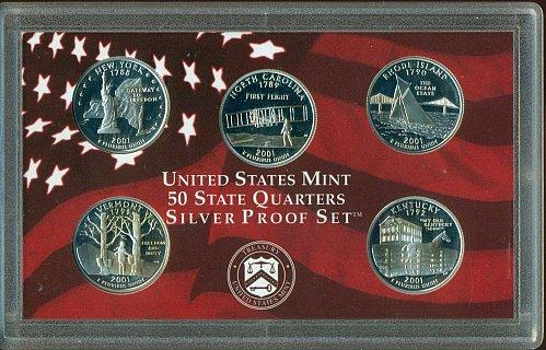 2001-S Silver Quarter Proof Set - NO BOX (TARNISHED)