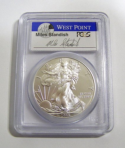 2015-W Silver Eagle Struck at West Point First Strike - MS70 PCGS Miles Standish
