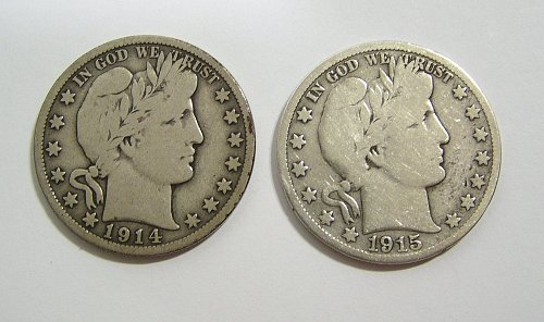 1914-S and 1915-S Barber Halves - both VG Condition