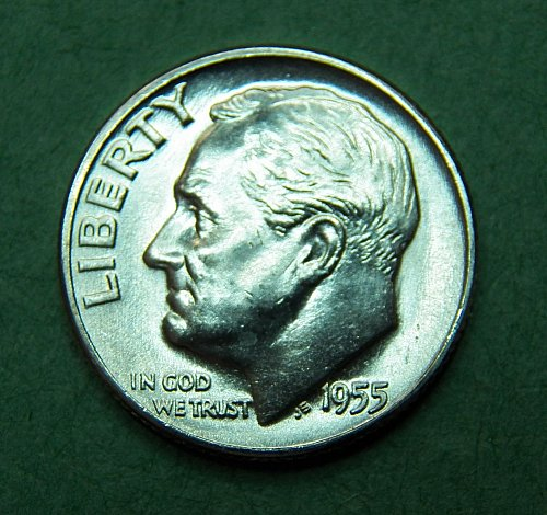 1955 D Roosevelt Dime Brilliant Uncirculated Coin   e06