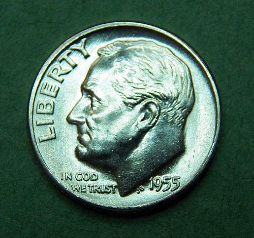 1955 D Roosevelt Dime Brilliant Uncirculated Coin   e06