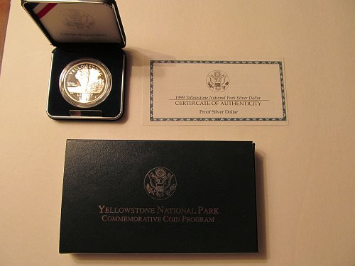 1999 Yellowstone National Park silver dollar.