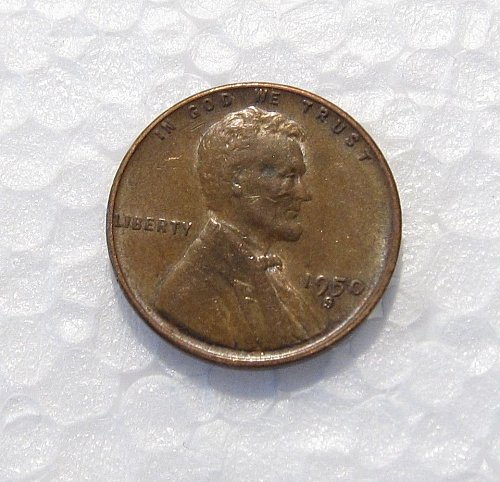 1950 S LINCOLN WHEAT CENT RPM REPUNCHED MINT MARK