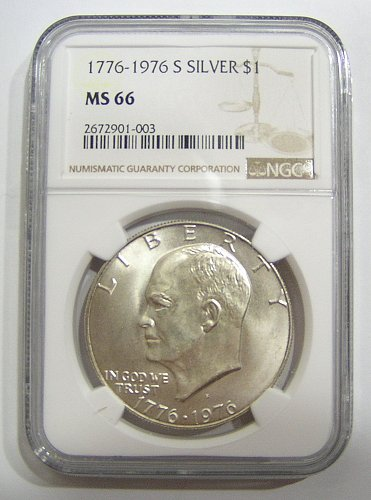 1976-S Eisenhower Silver Dollar - graded MS66 by NGC