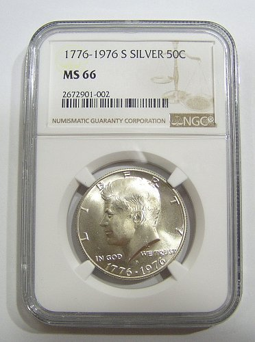 1976-S Kennedy Half Dollar - Silver - Graded MS66 by NGC