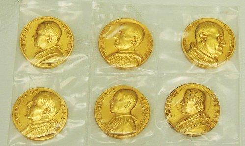 Twentieth Century Papal medallion (32 mm) set, 24K