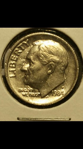 1984-p dime very strong die clash both sides