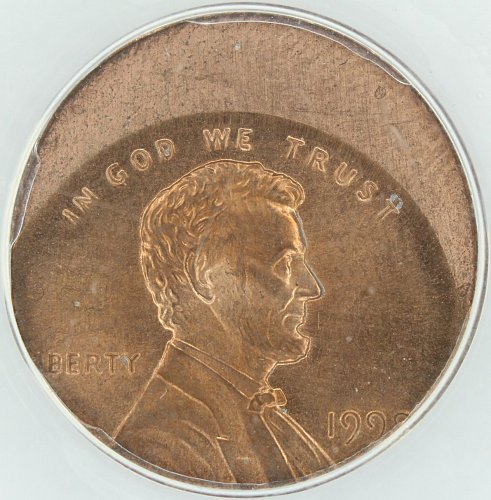 1999-P Lincoln Cent struck 25% off Center