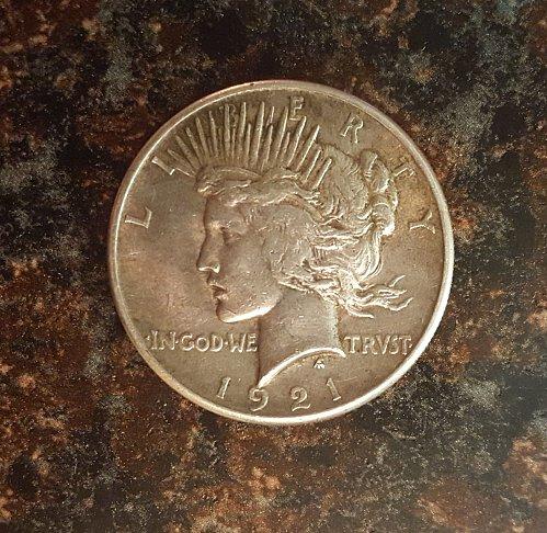1921 Peace Silver Dollar - AU