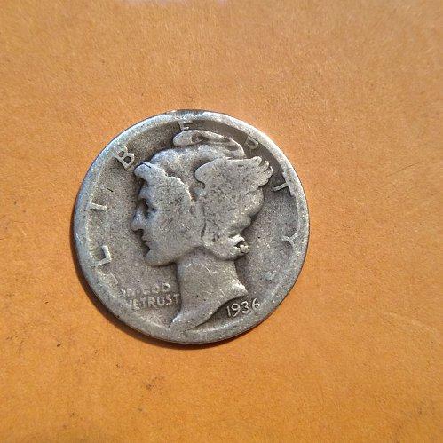 1936-d mercury dime circulated