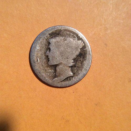 1917-p mercury dime  circulated