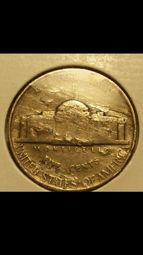 1943-P war time nickel  (severe lamination on reverse)