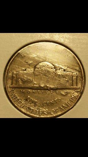 1943-P war time nickel  (severe lamination on reverse)