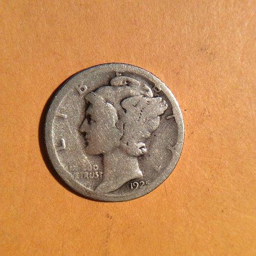1925-s mercury dime  circulated