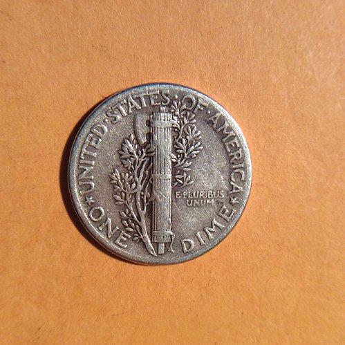 1944-p mercury dime  circulated