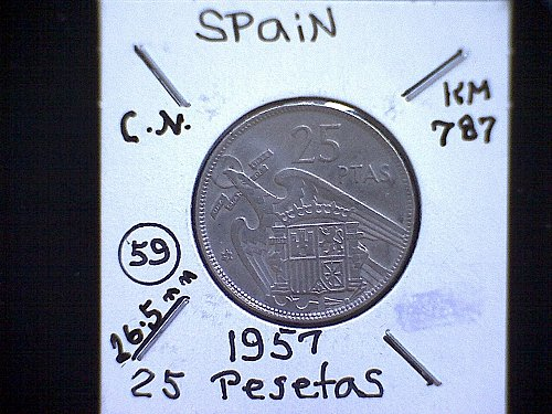 1957 (59) SPAIN TWENTY-FIVE PESETAS