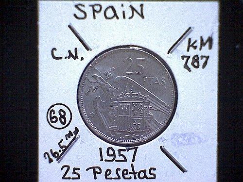 1957 (68) TWENTY-FIVE PESETAS