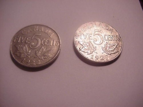 2-canada nickels 1922 and 1927