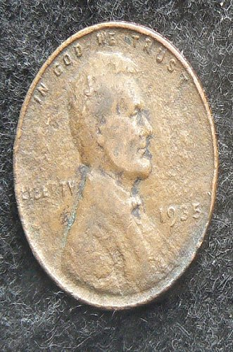 1935 P Lincoln Wheat Cent (F-12) damaged