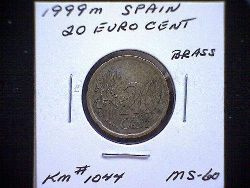 1999m SPAIN TWENTY EURO CENT