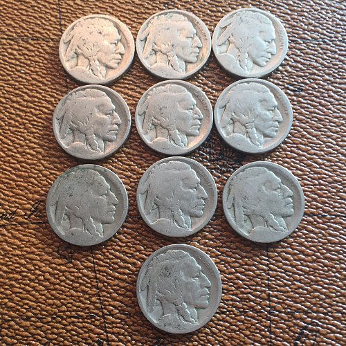 Lot of 10 Dateless Buffalo Nickels (20 cents each) Holiday Sale