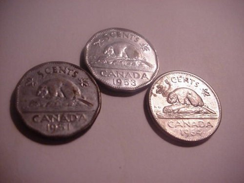 3-canada nickels 1951,53,64