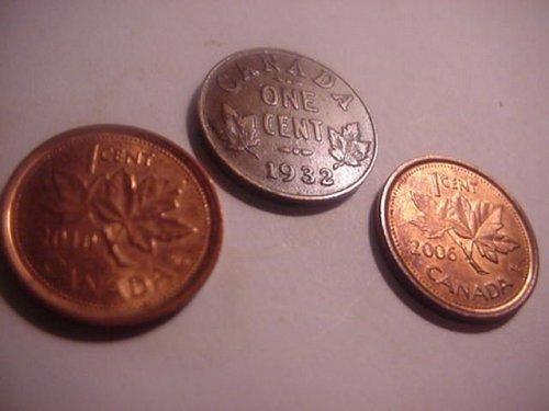 3-canada pennys 1932,2006,2010
