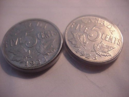 2-canada nickels 1922 and 1923