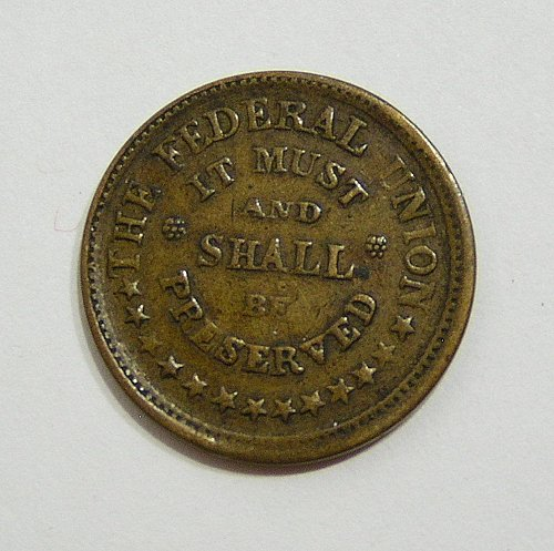 1863 Civil War Token - Army and Navy - VF Condition