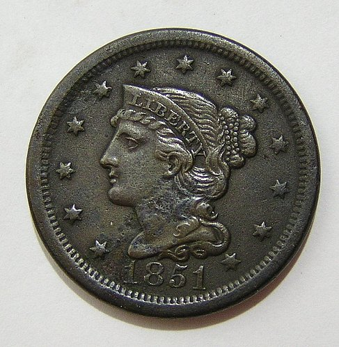 1851 Braided Hair Liberty Head Large Cent - XF
