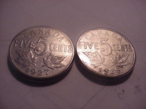1927 and 1928 canada nickels