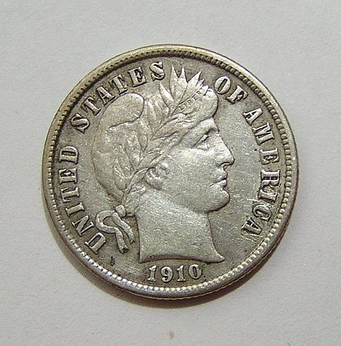 1910 Barber Dime - XF Condition Full Liberty
