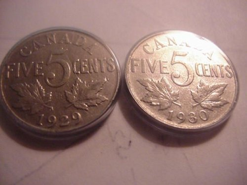 1929 and 1930 canada nickels....NICE