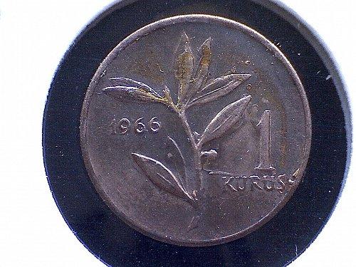 1966 TURKEY ONE KURUS