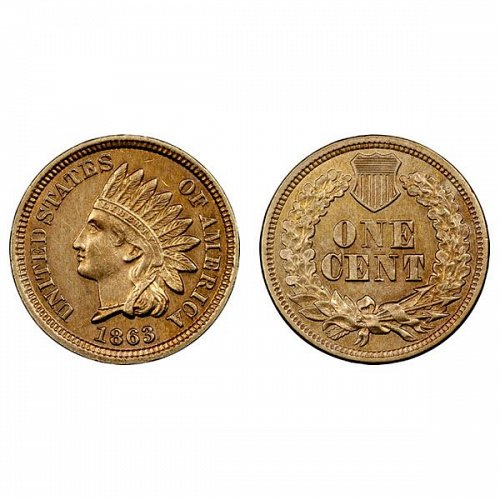 1863 Indian Head Cent - Choice BU - 4 Diamonds