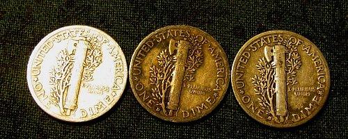 1935 P, D, & S mercury Dimes B-9+ 3 1930's FREE Dimes///////