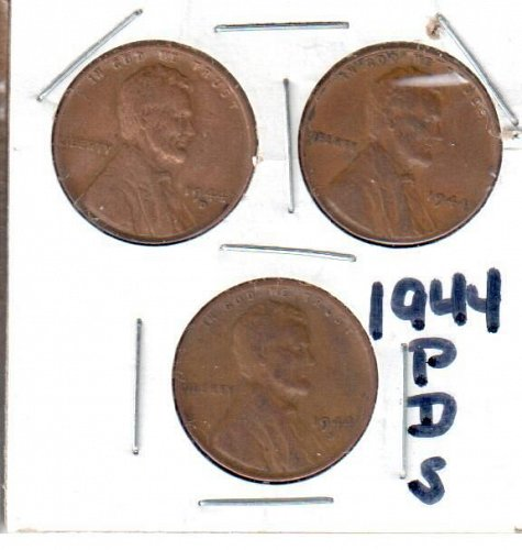 1944 Lincoln Wheat Cents - P, D, & S
