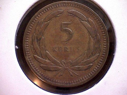 1956 TURKEY FIVE KURUS