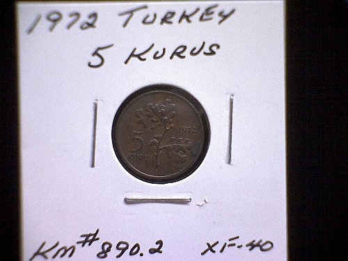 1972 TURKEY FIVE KURUS