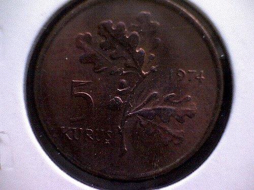 1974 TURKEY FIVE KURUS