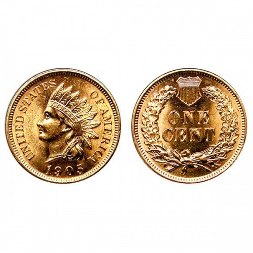 1905 Indian Head Cent - MS RD - Red Gem BU - 4 Diamonds