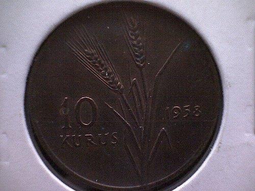 1958 TURKEY TEN KURUS