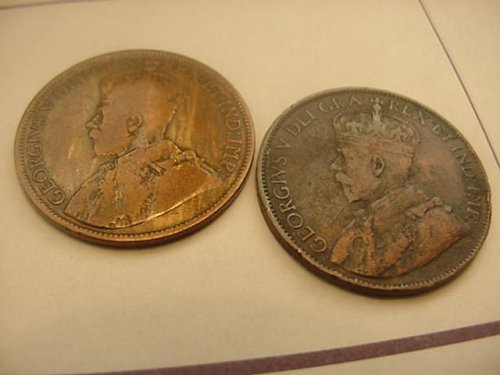2-canada large cents 1913 and 1917