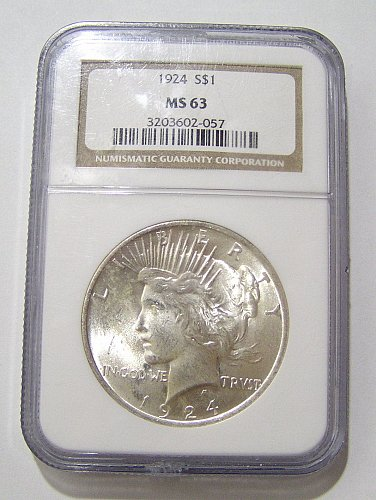 1924 Peace Dollar - graded MS63 by NGC