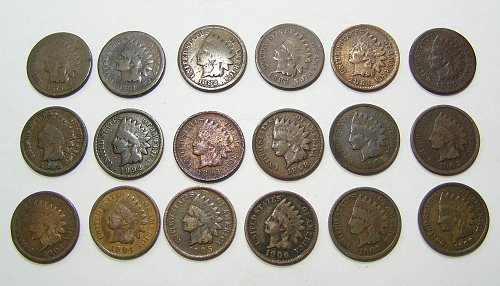Lot of (18) Indian Head Cents - 1879-1908 All Different Dates