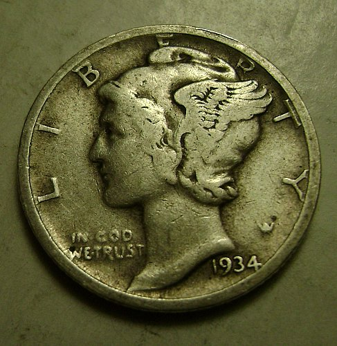 1934-D Mercury Dime Free Shipping