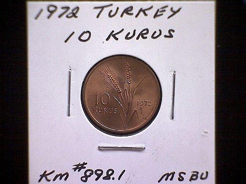 1972 TURKEY TEN KURUS