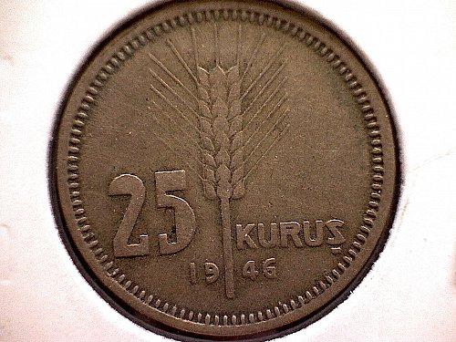 1946 TURKEY TWENTY-FIVE KURUS